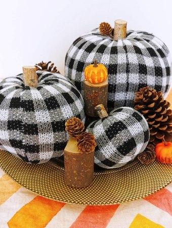 Crocheted buffalo plaid set of pumpkins for fall decor