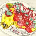 mangokern und erdbeerstiele