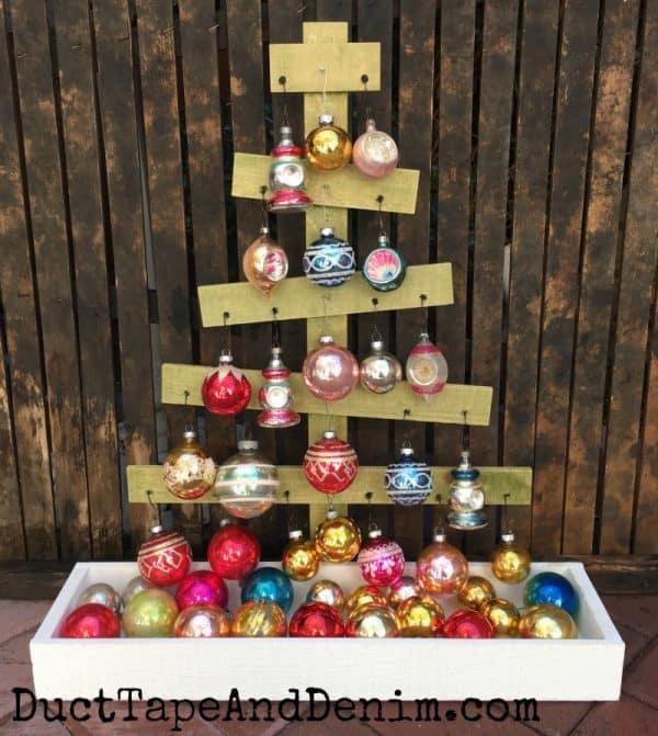 Vintage Shiny Brite Christmas ornaments displayed on wood tree | DuctTapeAndDenim.com