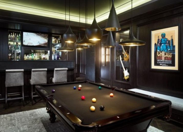 man cave with pool