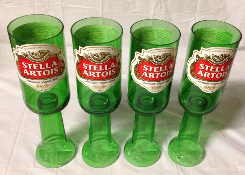 stella artois upside down bottle glasses