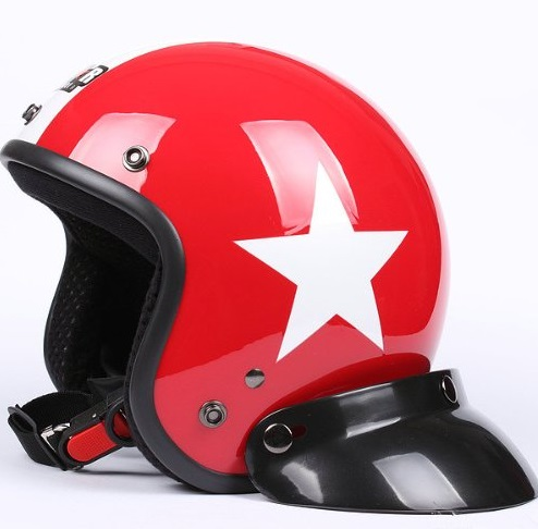 Vintage Red Star Motorcycle Helmet
