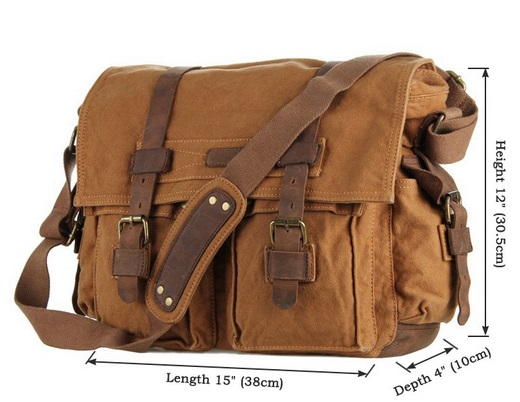 leather and canvas messanger laptop bag for men