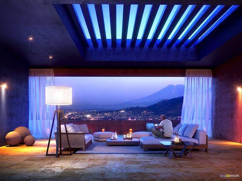 room with sky view