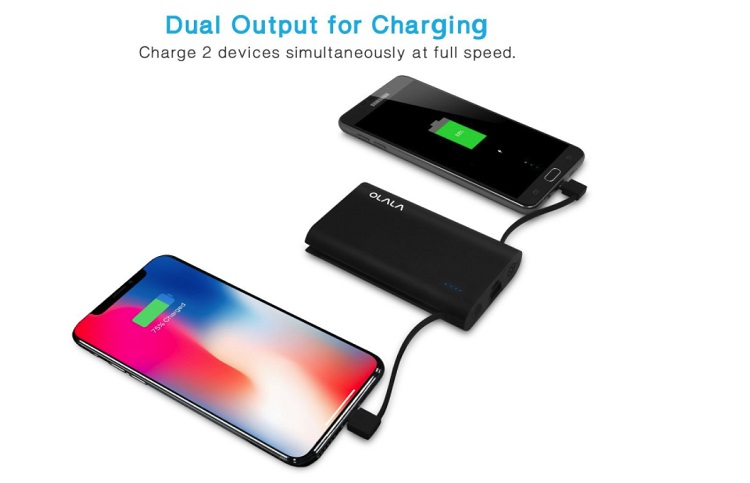 portable charger for two phones