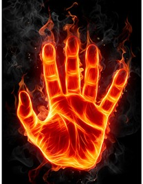 fiery hand