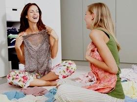 women swap clothes