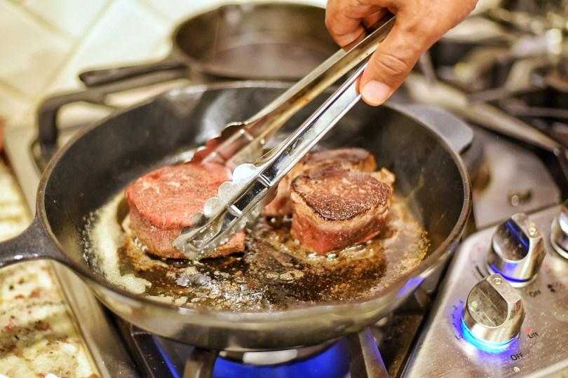 Searing Filet Mignon in cast iron skillet