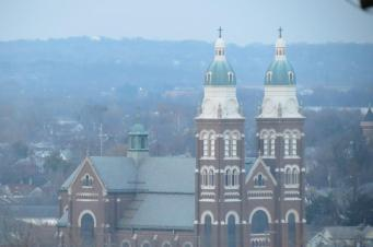 Zoomed in View of Church in Dayton from the Woodland Cemetery