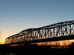 Sunset and Crescent Moon and the I-70 Bridge over the Missouri River