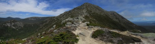 Climbing up Mount Katahdin in Maine Panorama
