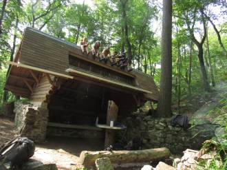 Sitting on Top of Rausch Gap Shelter in Pennsylvania with a Gang of Sobos