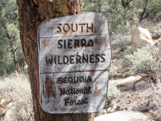 Sign for the South Sierra Wilderness in Sequoia National Forest