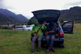 Jamming in the Trunk on a Rainy Day at the Berlins Campground