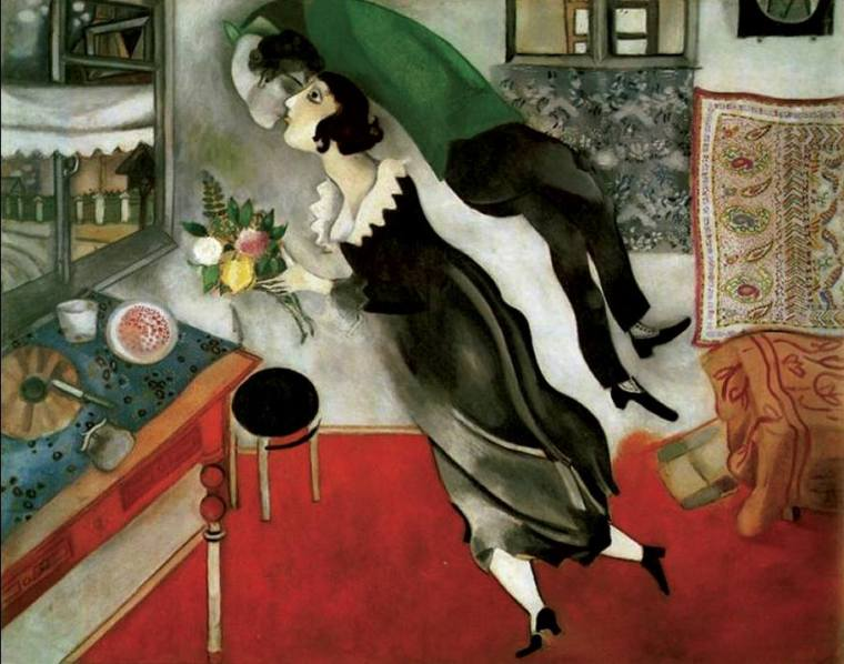 Marc Chagall, Compleanno, olio su tela, 1915, Museum of Modern Art, New York