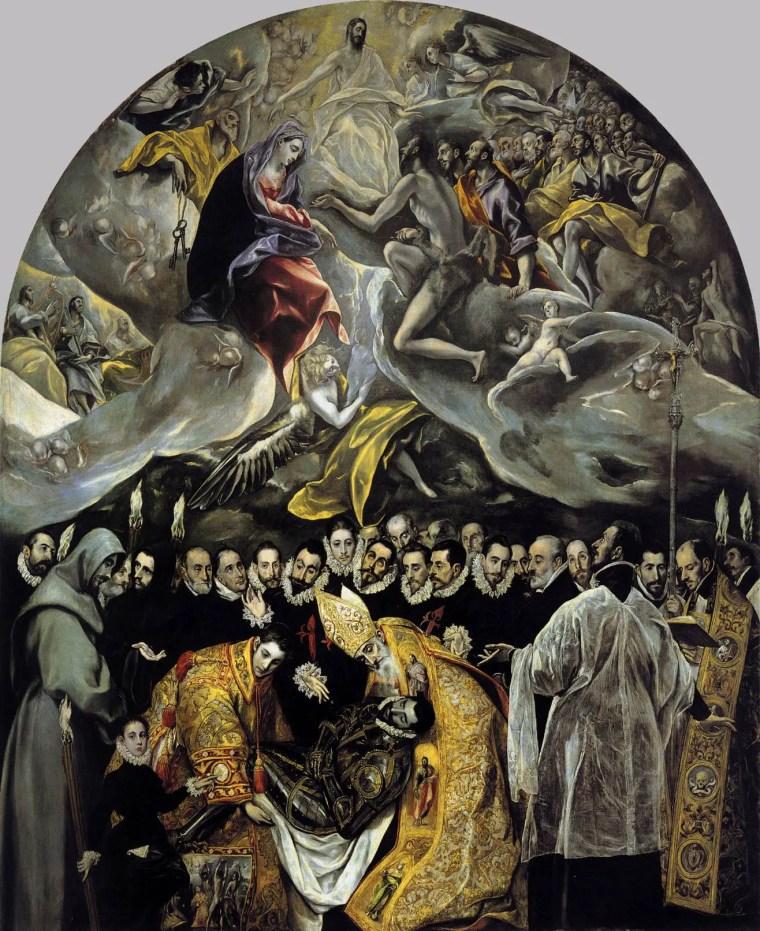 El Greco, La Sepoltura del conte di Orgaz (1586–1588, olio su tela, 480 × 360 cm, Santo Tomé, Toledo