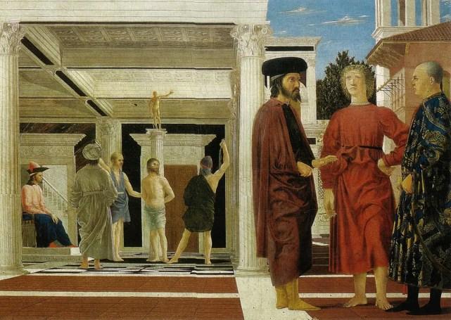 Piero della Francesca, Flagellazione di Cristo, 1470 circa, tecnica mista su tavola, 58,4x81,5 cm, Galleria Nazionale delle Marche, Urbino