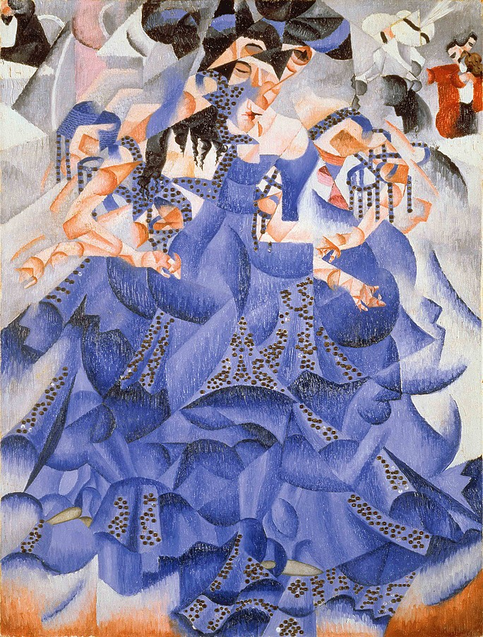 Gino Severini, Ballerina in blu, 1912, collezione Gianni Mattioli presso collezione Peggy Guggenheim, Venezia