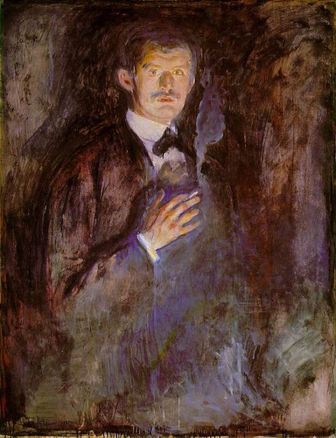 Edward Munch, Autoritratto con sigaretta, 1895, olio su tela, 110.5 x 85.5 cm, National Gallery, Oslo