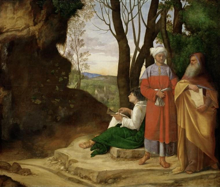 Giorgione, Tre filosofi, 1506-1508 circa, olio su tela, 123,5×144,5 cm, Kunsthistorisches Museum, Vienna