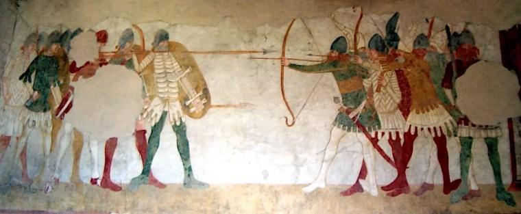 Un dettaglio degli affreschi della Sala delle Guardie