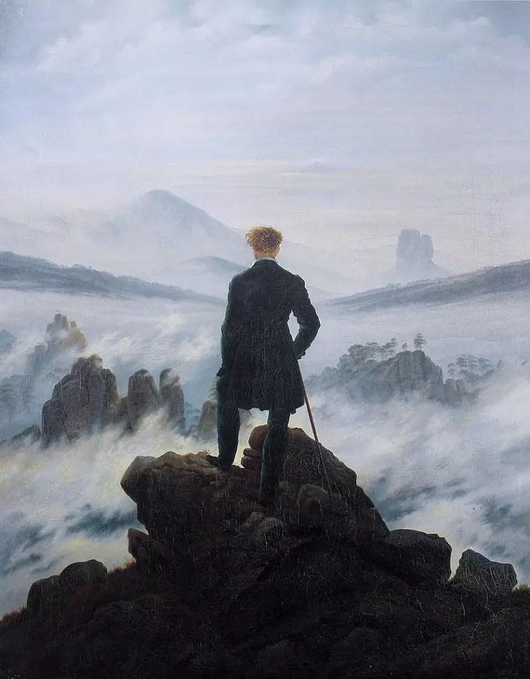 """Dipinto di Friedrich dal titolo """"Viandante su mare di nebbia"""""""