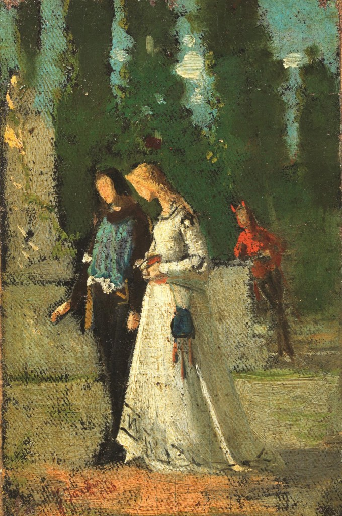 Federico Faruffini, Tentazione. Faust e Margherita, olio su tela su cartoncino