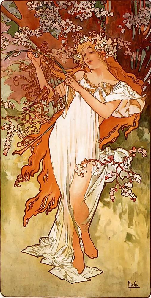 Alfons Mucha, Le stagioni – Primavera, 1896