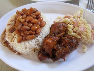 """La Bandera"" - rice&beans, stewed chicken and, this time, a pasta salad. Normally it's a green salad."