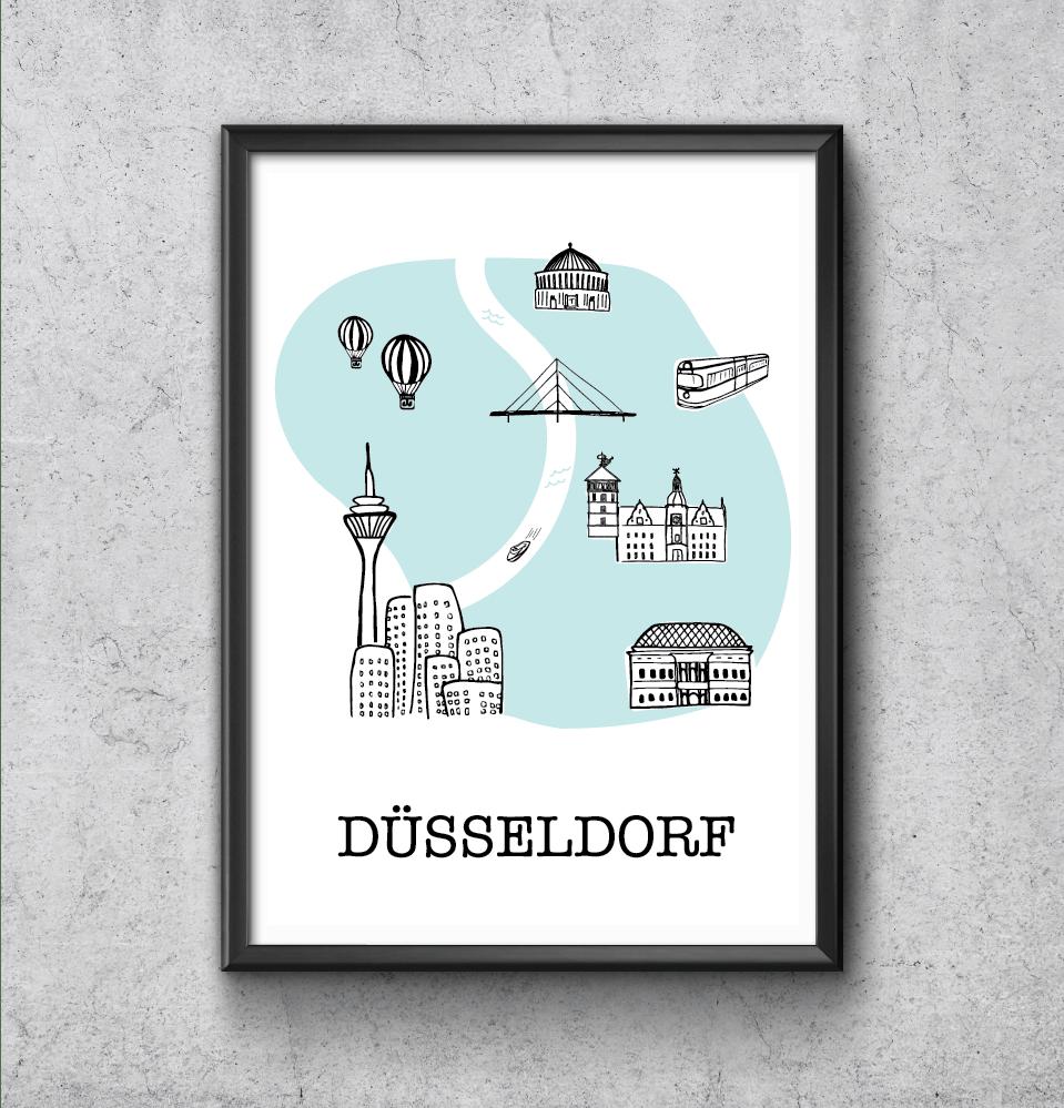 Düsseldorf Illustrated Poster