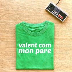 camiseta infantil verde valent com mon pare