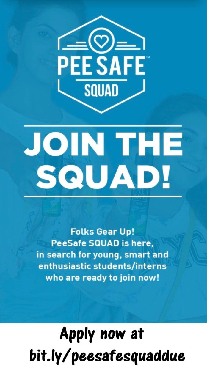 Internship Opportunity At Pee Safe,Join Pee Safe Squad Now