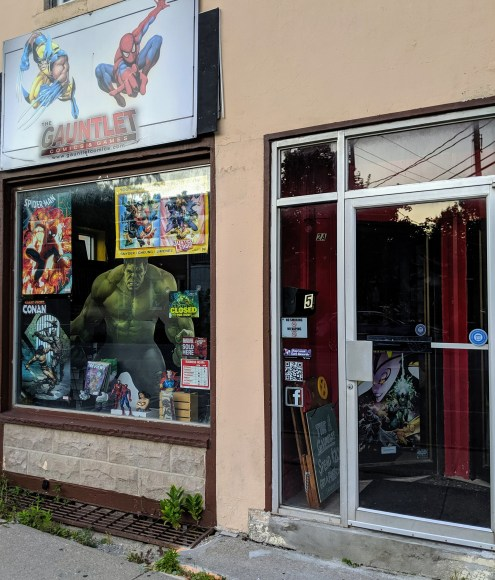 The storefront for Gauntlet Comics