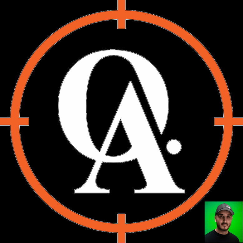 The logo of Orangeville Airsoft, with a picture of the owner.