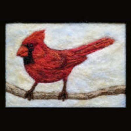 Halton-Peel-Dufferin Art Workshop 5″x7″ wool painting - Cardinal  - Cathy Disbrow, Woolly Doodles