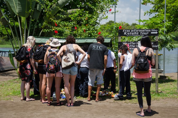 The Contiki Storytellers team helping local kids from Tortuguero sort out recycling