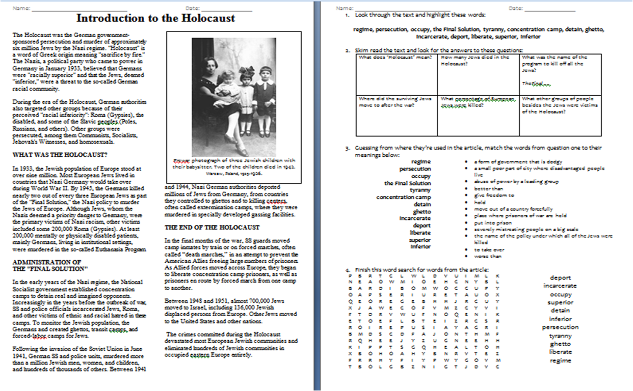 Worksheet Introduction To The Holocaust Duffy Stirling