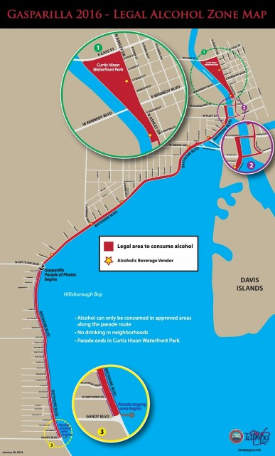 Gasparilla Wet Zone Map, Gasparilla Parade Map, #Gasparilla