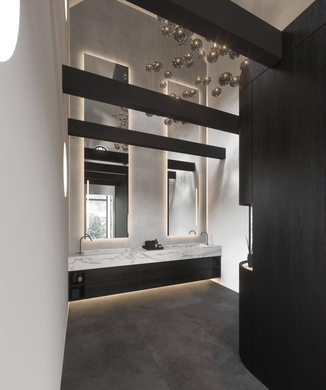 Entree met wasmeubel en grote spiegels + garderobe