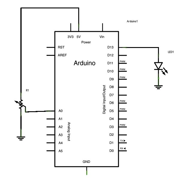 Potentiometer or variable resistor control LED Code