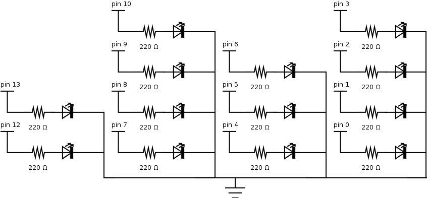 an arduino binary clock circuit