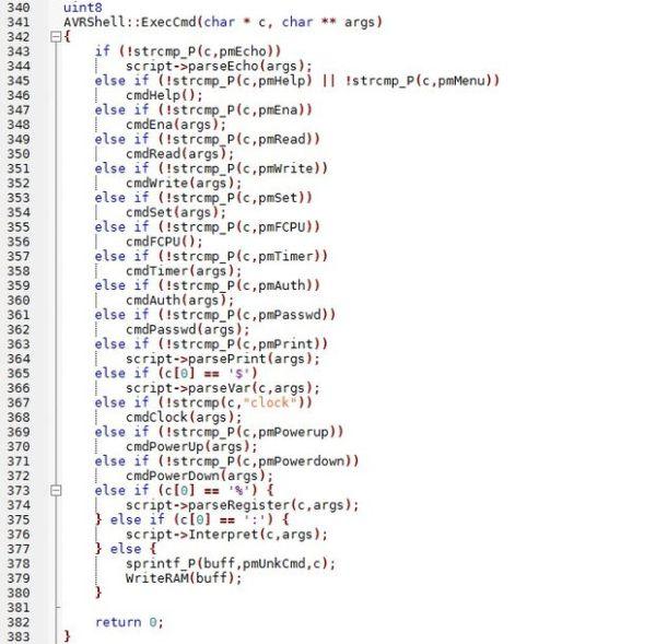 AVRSH: A Command Interpreter Shell for Arduino/AVR. using