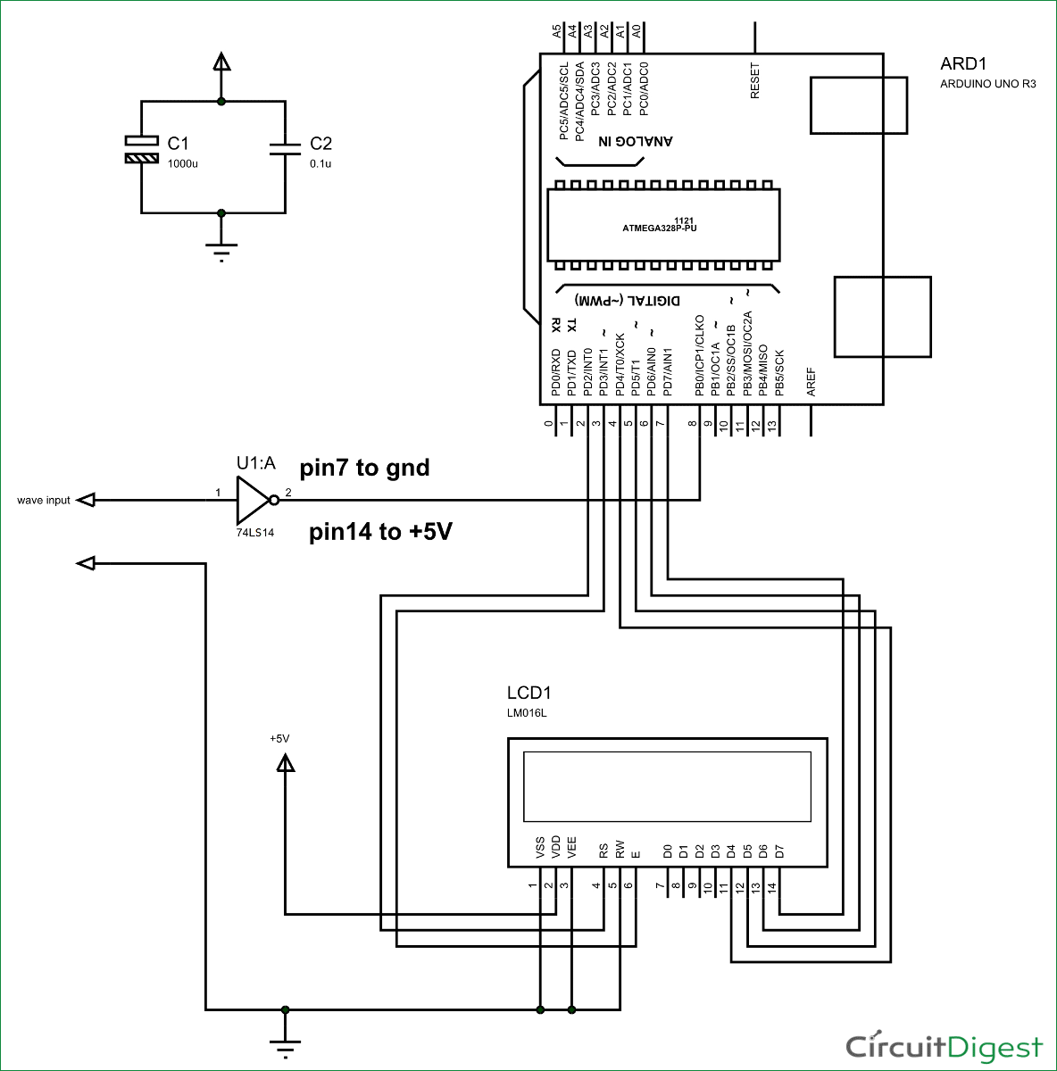 hight resolution of frequency counter using arduino circuit diagram