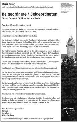 Die Anzeige der Stadt Duisburg für die Suche nach einem neuen Rechtsdezernenten.