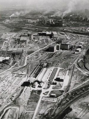 Großbaustelle Beeckerwerth vor 50 Jahren. ThyssenKrupp Archiv – Foto: Karl Lang.