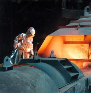Abstich am Hochofen Schwelgern 1 . Foto: ThyssenKrupp Steel Europe.