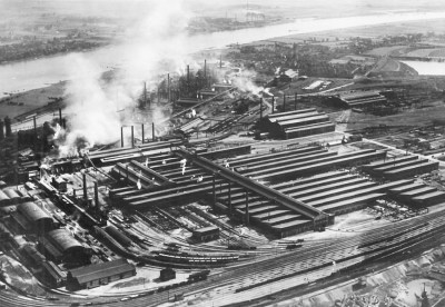Krupp Hüttenwerk Rheinhausen Mitte der 20-er Jahre. Foto: ZZB.