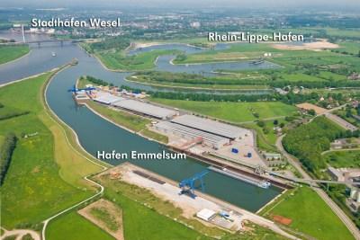 Der Hafenverbund DeltaPort mit dem Hafen Emmelsum, Rhein-Lippe-Hafen und Stadthafen Wesel. Foto: DeltaPort.