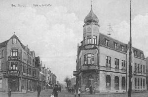 Blick von der Moerser Straße in die Augustastraße um 1918: das