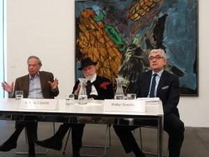 Pressegespräch im Museum Küppersmühle (v.l.): Kurator Götz Adriani, Markus Lüpertz, Museumsdirektor Walter Smerling. Foto: Petra Grünendahl.